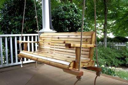 Cedar Porch Swing With Rope