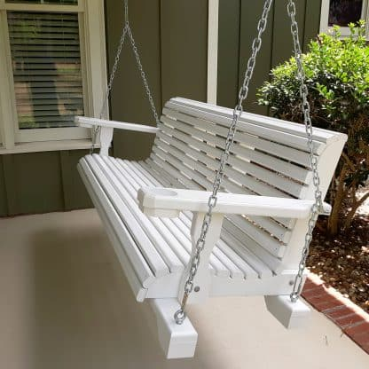 white ellijay porch swing with chains