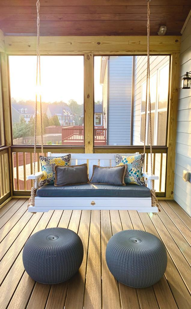 Porch Swing With Rope On Screened Porch