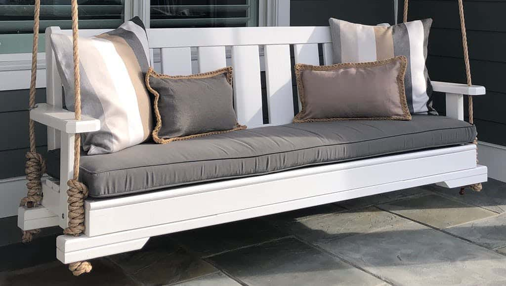 Beautiful White Porch Swing With Rope